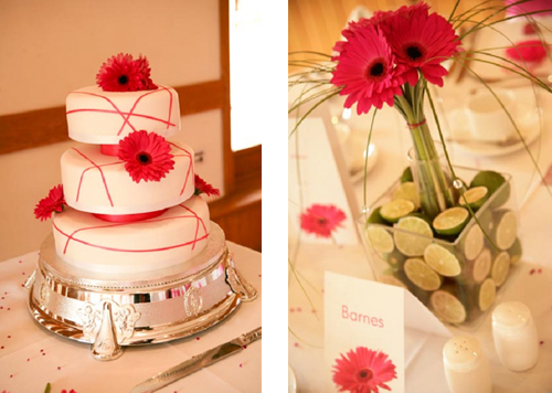 Lime and Gerbera cube table design Cerise Gerbera Wedding Table Designs